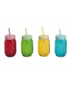 4x Smoothies drinkbekers met rietje